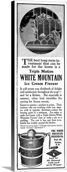 Advertisement For the Triple Motion White Mountain Ice Cream Freezer, 1911