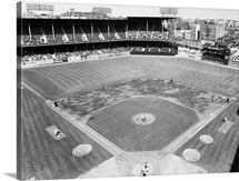 Ebbets Field during a game between the New York Yankees and the Brooklyn Dodgers