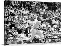 Ernie Banks of the Chicago Cubs, batting against the Brooklyn Dodgers at Ebbets Field