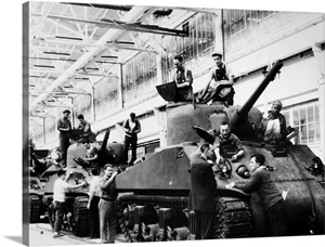 Mechanics Working On M 4 Tanks At A Ford Motor Company