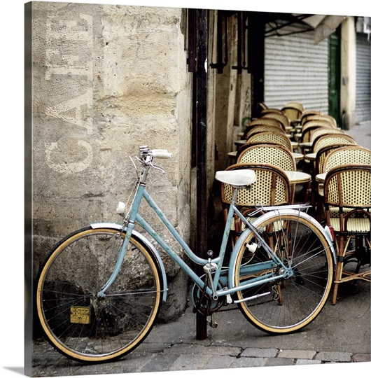 cafe bicycle photo canvas print great big canvas. Black Bedroom Furniture Sets. Home Design Ideas