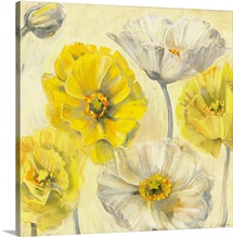 Gold and White Contemporary Poppies II