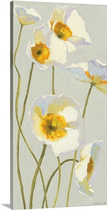 White on White Poppies Panel I