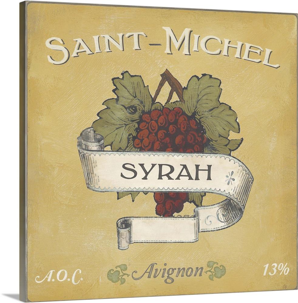 Premium Thick-Wrap Canvas Wall Art entitled Vintage Wine Labels VI ...