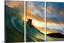 Hawaii, Maui, Makena - Big Beach, Skimboarder Carving Turquoise Wave