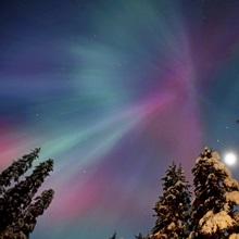 Aurora Corona and Moon Over Crow Creek, Southcentral, Alaska