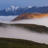 Fog settles between mountain ridges at sunrise in Sable Pass, Denali National Park