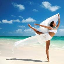 Hawaii, Oahu, Lanikai Beach, Female Ballet Dancer On Beach With White Flowing Fabric