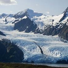 Scenic view of Portage Glacier and Portage Lake