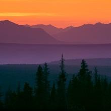 Sunset over Kluane Mountains near Haines Highway British Columbia Canada Summer