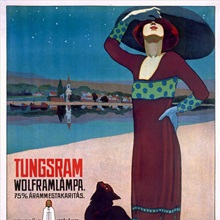 Tungsram Light Bulb, Woman and Cat, Vintage Poster, Vintage Poster, by Geza Farago