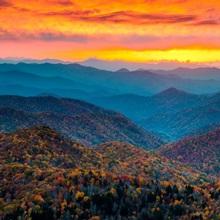 Blue Ridge Parkway Mountains at Sunset, NC