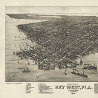 Vintage Birds Eye View Map of Key West, Florida