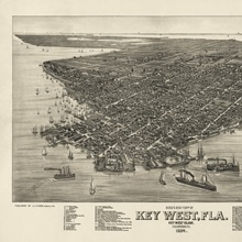 Vintage Birds Eye View Map of Key West, Florida