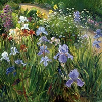 Irises and Oxeye Daisies, 1997 (oil on canvas)