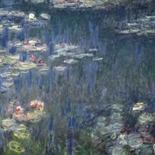 Waterlilies: Green Reflections, 1914 18 (left and right section) (oil on canvas)