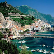 Italy, Campania, Amalfi Coast view over town and harbor