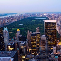 USA, NYC, Manhattan, View towards Central Park from the Top of Rockfeller Center