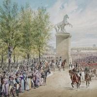 Tsar Alexander I of Russia and his Army on the Champs Elysees in Paris, 1814