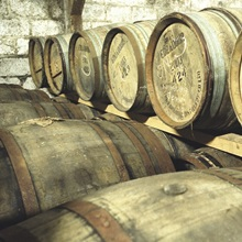 Barrels in the Edradour Distillery whiskey store, Pitlochry, Perthshire, Scotland.