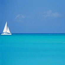 Caribbean, Turks and Caicos Islands, Providenciales, Grace Bay Beach, Sailboats in ocean