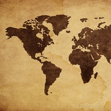 Close up of antique world map