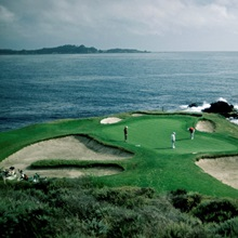 The golf course at Pebble Beach, California.