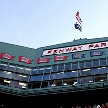 The Press Box at Fenway park in Boston, Massachusetts, home of the Red Sox