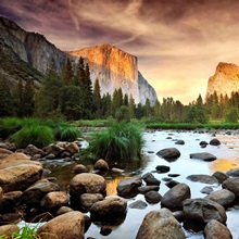 Valley at sunset, Yosemite.