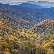 North Carolina, Great Smoky Mountains National Park, autumn panorama from Newfound Gap