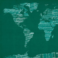 Sheet Music World Map, Green
