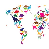 World Map Dinosaurs, Multicolor