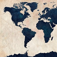 World Map Distressed Navy