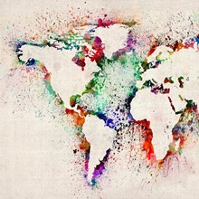 World Map Splash Outline