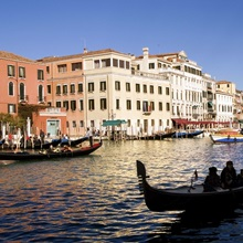 A gondola on the Grand Canal in Venice