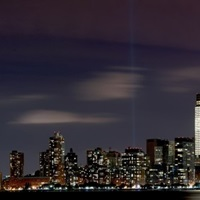 A panorama of the Tribute in Light shot from New Jersey