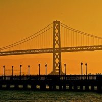 A view of the Bay Bridge  from the pier in San Francisco, California