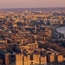 An aerial view of D.C. and the Potomac River from Georgetown