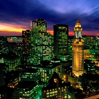 Boston night aerial with time exposure car lights on Central Artery