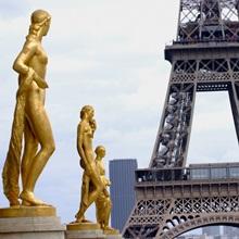 Gold statues at the Palais de Chaillot in Paris