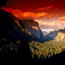 Scenic view of a sunset at Yosemite National Park