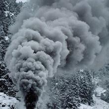The Durango & Silverton Narrow Gauge Railroad train chugs through the snow, San Juan Mountains, Colorado