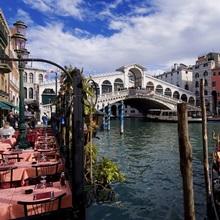 The Rialto Bridge and gondolas on the Grand Canal in Venice