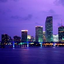 Twilight view of the Miami skyline, Florida