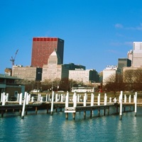 Columbia Yacht Club with buildings in the background, Chicago, Illinois, USA 2011