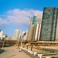 Columbia Yacht Club with buildings, Lake Point Tower, Chicago, Illinois, USA 2011