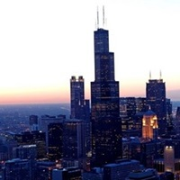 High angle view of Chicago at dusk, Cook County, Illinois