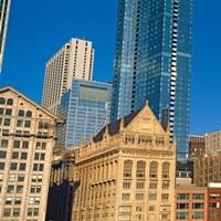 Low angle view of city skyline, Michigan Avenue, Chicago, Illinois, USA 2011