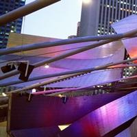 Low angle view of Jay Pritzker Pavilion, Millennium Park, Chicago, Illinois, USA II