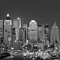 New York, New York City, Panoramic view of the West side skyline at night (Black And White)